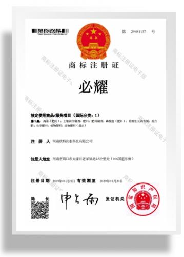 商标注册证书-必耀